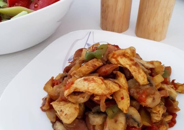 طرز تهیه مرغ و قارچ در فر