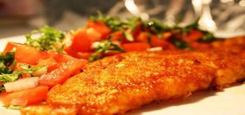 ماهی کبابی با سبزیجات
